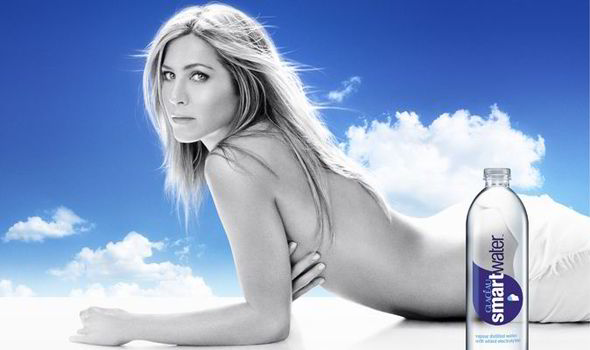 Jennifer Aniston nearly nude with Smart Water